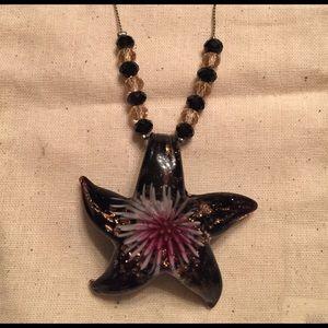 Glass starfish necklace w/ beads