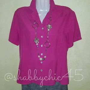 2/$25 Silk Fuchsia Button Down Shirt