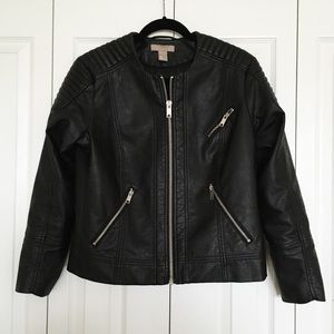 H&M faux leather bomber jacket