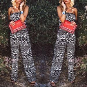 Pants - Strapless Tribal Print Jumpsuit