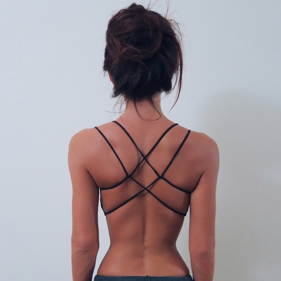 Tops - Black String-Back Bralette