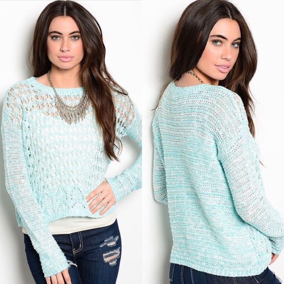 Boutique Sweaters - 🎉CLEARANCE🎉Aqua Blue & White Crochet Sweater