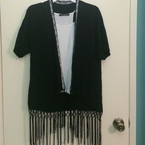 Black kimono, tribal detailing and trim