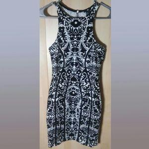 H&M black and white mini dress