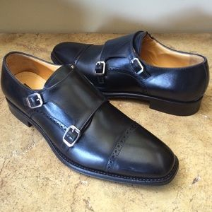 Gordon Rush Other - Gordon Rush Men's Black Leather Monkstrap Shoes