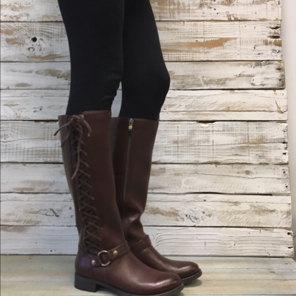 783385c0800 Brown knee high lace up boots women cute fun Boutique