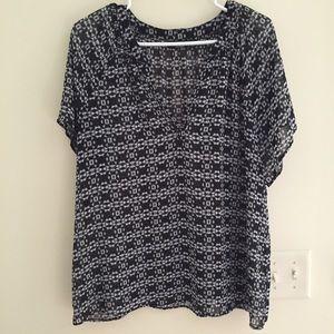 a.n.a Tops - a.n.a. Black Sheer Short Sleeve Blouse
