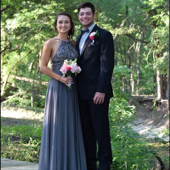 Jovani Dresses | Charcoal Grey Prom Dress | Poshmark