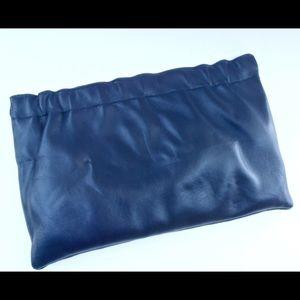Handbags - Supple Dark Blue Leather Vintage Clutch Purse