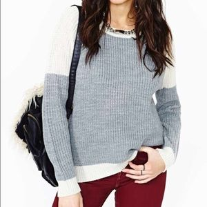 Nastygal grey and white color block knit sweater