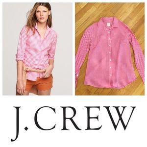 J.Crew Pink Gingham Perfect Shirt