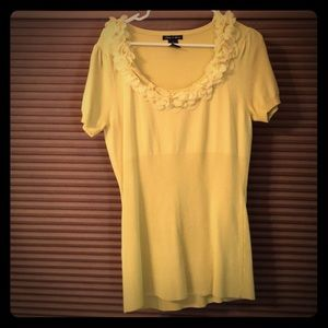 Audrey & Grace Sweaters - Audrey & Grace Short Sleeve Yellow Sweater