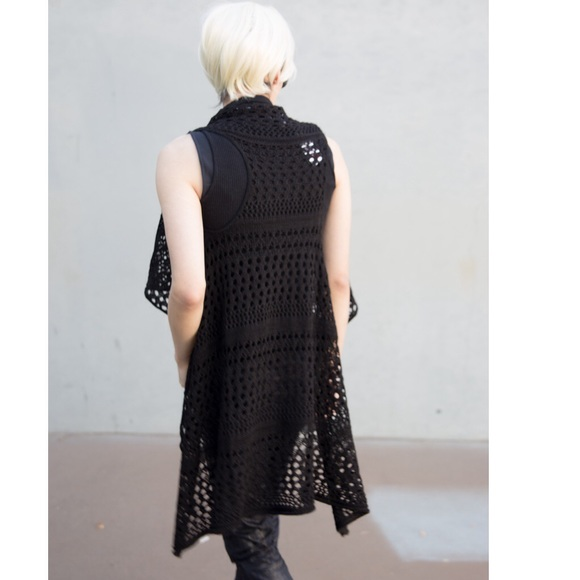 Rue21 Sweaters - Black Crochet Fishnet Cardigan Vest Top Boho Chic