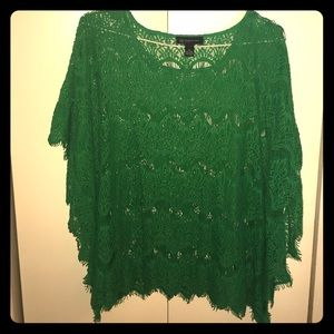 INC Batwing Corded Lace Top, Green, 1X.
