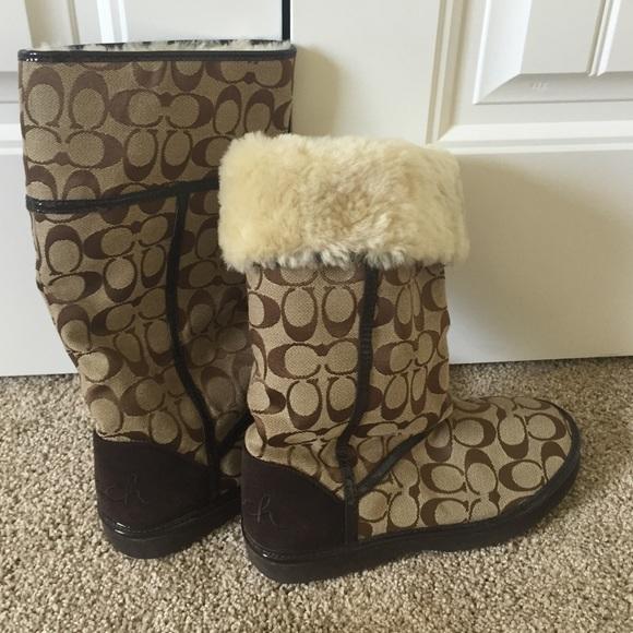 1601d7b2439 Coach 'Ugg Style' fur boots. Brown COACH symbols