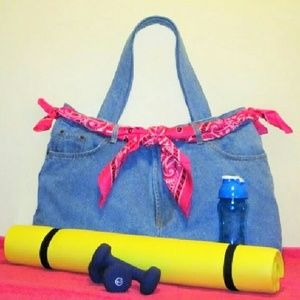 Denim Jeans Bag Tote Gym Yoga School  XL