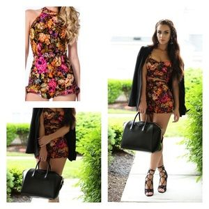Other - PIXELATED FLORAL RUFFLED ROMPER