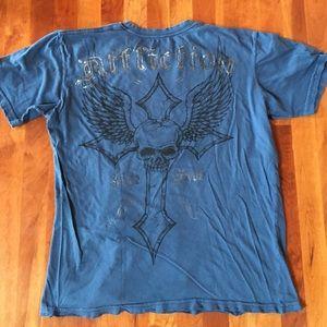 Affliction Other - Affliction blue live fast skull t-shirt