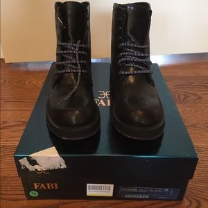 Fabi Shoes - Fabi Black & Blue Leather Boots, NIB, Size 5