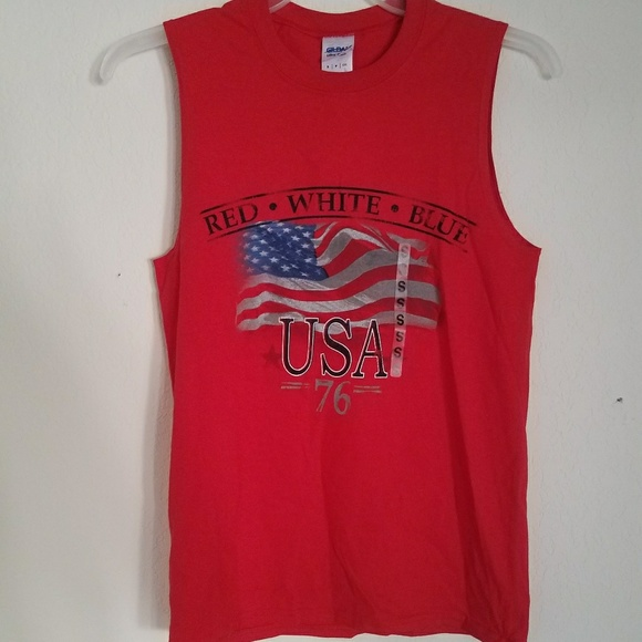 Gildan Other - 🇺🇸New Red American Flag Tshirt Casual Tee Small