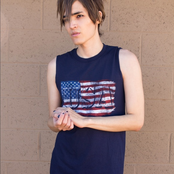 Gildan Shirts - 🆕American Flag Tank Top Sleeveless Navy Blue NEW