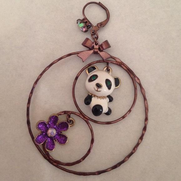 betsey johnson betsey johnson nwot panda hoop earrings