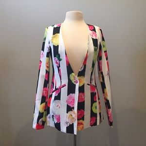 New with tags stripe with floral summer blazer
