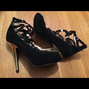 Colin Stuart Black & Gold Suede Heeled Sandals