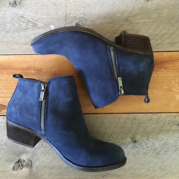 Lucky Brand Navy Leather Suede Ankle