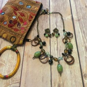 Jewelry - Jade and Amber Statement necklace with earrings
