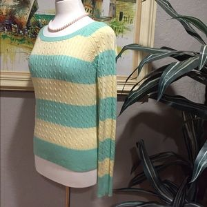 Aeropostale Sweaters - Aeropostale Green & Yellow Cable Knit Sweater 🛍