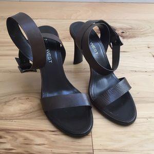 Nine West Strappy Leather Heel Sandals in Espresso