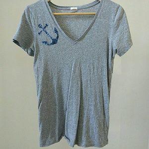 J. Crew Factory gray sequin anchor t shirt small