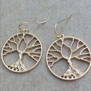 Jewelry - Gold Tone Tree of Life Family Tree Drop Earrings