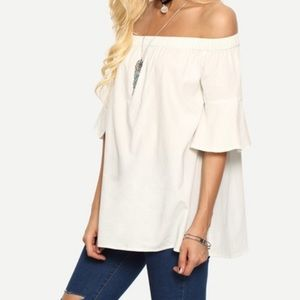 Off the shoulder bell sleeve top. Price firm.