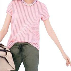 J.Crew Pink Shadow Stripe Short Sleeve Blouse