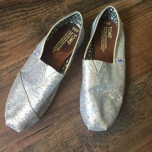 Toms Shoes - Toms Classics Silver Glitter Shoes
