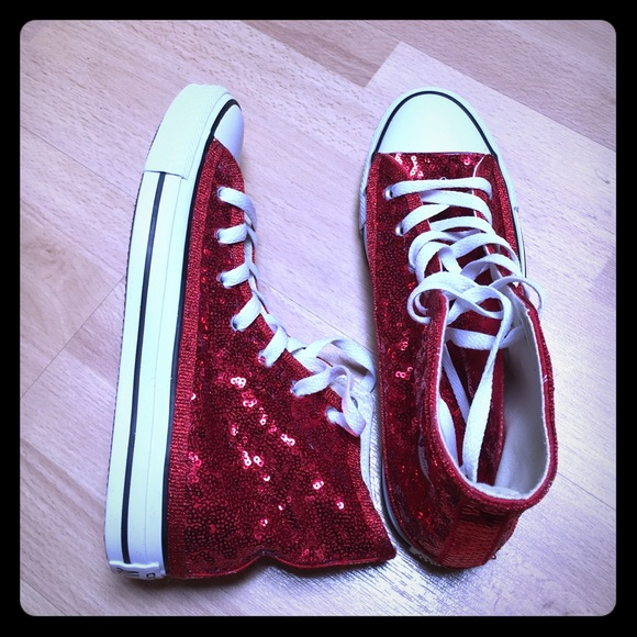Red Sequin Hi Top Converse Sneakers Shoes bafbbafb0