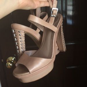 Vince Camuto Shoes - beautiful studded leather nude pink heels sandals