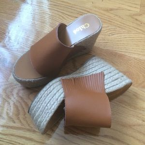 Tan Wedged platform espadrilles