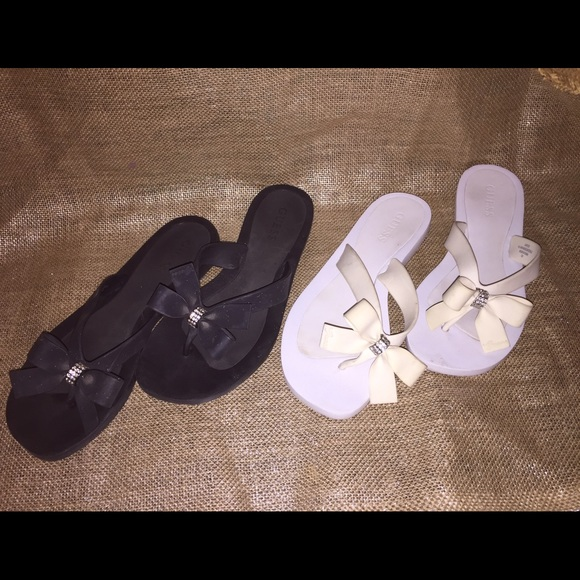 fb285aa75fe769 GUESS Shoes - White   Black bow tie Guess sandals size7