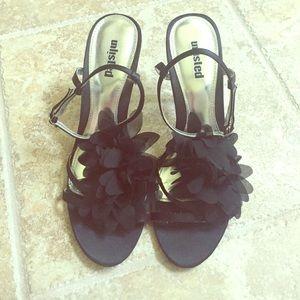 Black chiffon flower open toe heels
