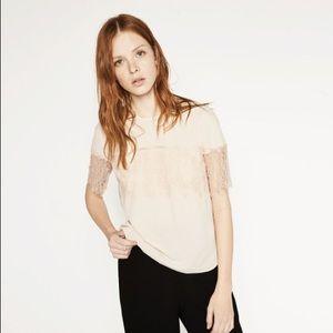 Zara Women's Beige Top With Lace Trim Sleeves