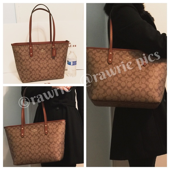 774d43ac5384 SALE New Coach signature zip top city tote khaki