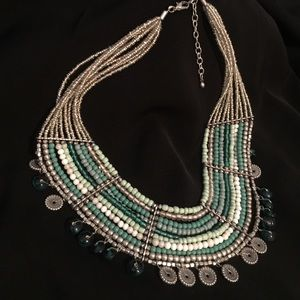 Beautiful shades of green statement necklace