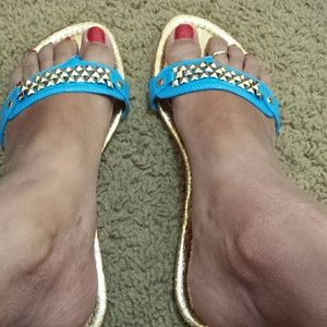 Classified Shoes - Blue & Gold Sandals