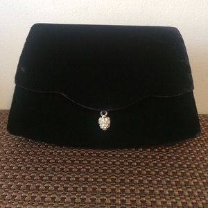 Handbags - Black velvet clutch