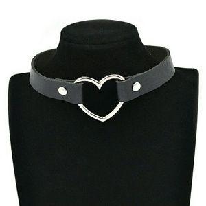 Black Heart Vegan Leather Choker Collar