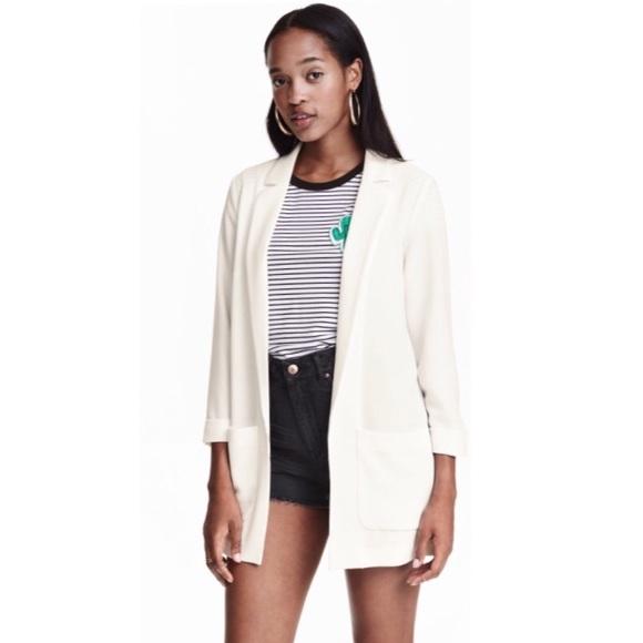 bb6c55f93b4d 🆕H M white long jacket blazer women s sz US 12