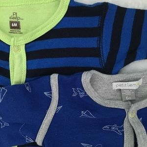 Petit Lem Other - Set of 2 Boys Footies (6mos)